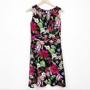 Spense Floral Dress Fit & Flare Black Pink Small